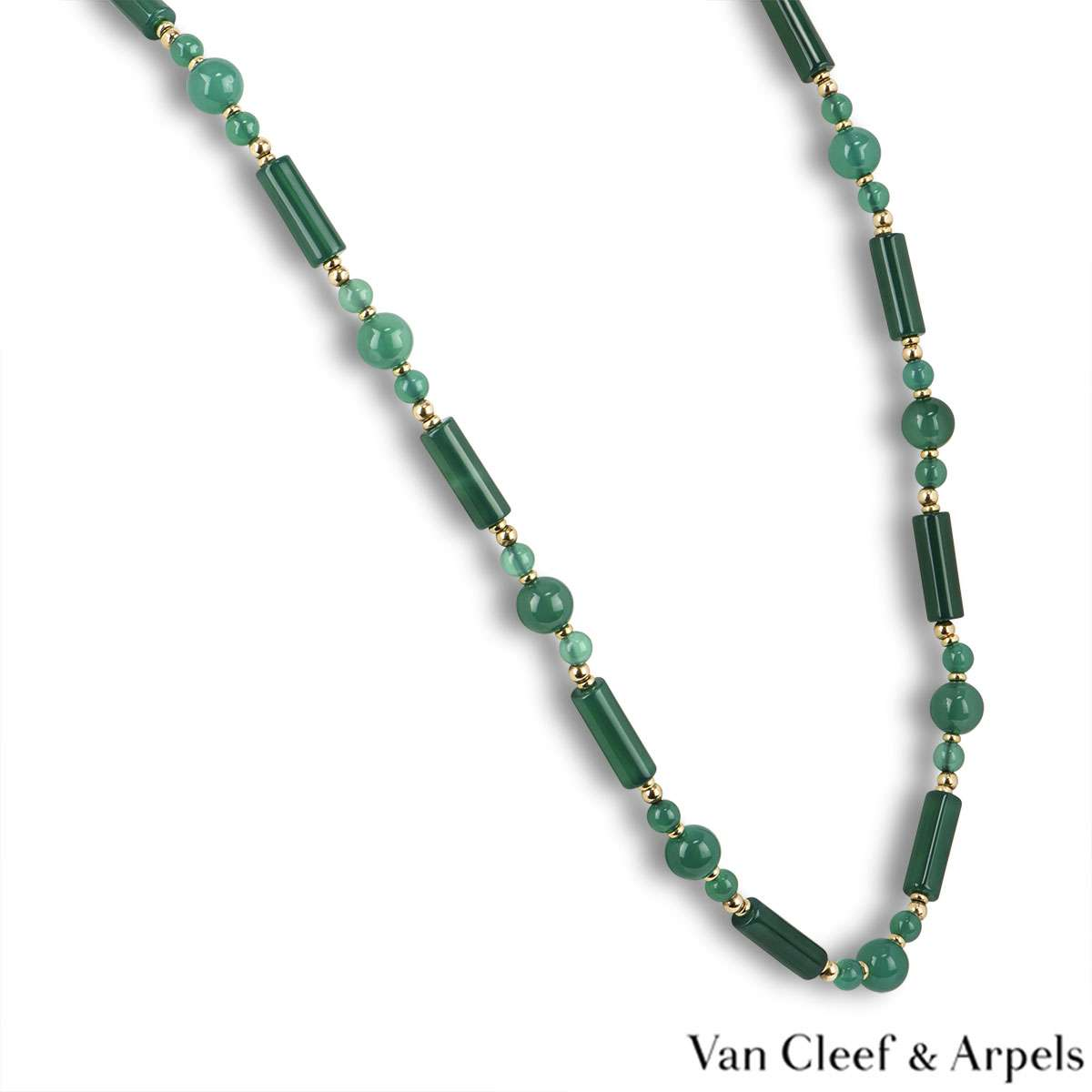 Van Cleef & Arpels Yellow Gold Chalcedony Beaded Necklace
